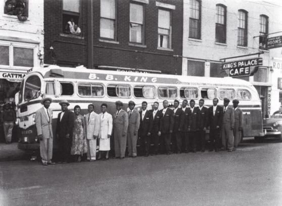 B.B. King Band and the tour bus
