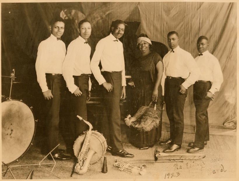 "Ma Rainey was backed by the Georgia Band, led by ""Georgia Tom"" Dorsey (third from left)."