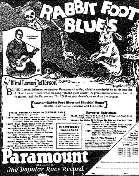Ad for Rabbit Foot Blues - Paramount Race Records