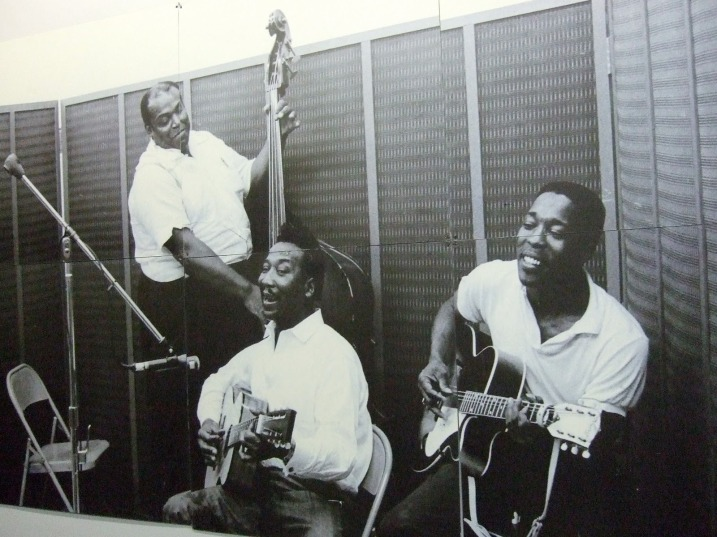 Willie Dixon, Muddy Waters, and Buddy Guy (from left) cut some sides in the Chess studio, 1964.
