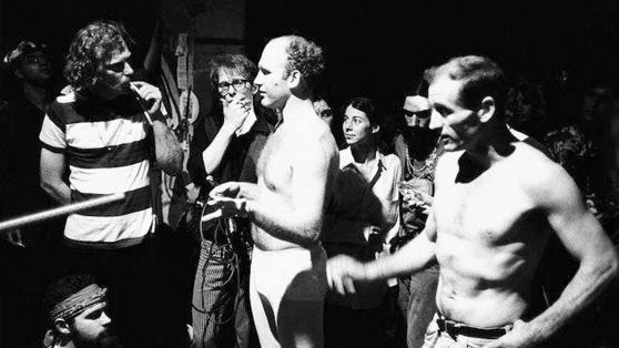 Kesey and Cassady, Barechested, 1968.